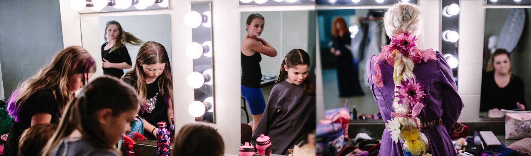 image of dressing room with youth getting ready for programs in the Algonquin Theatre