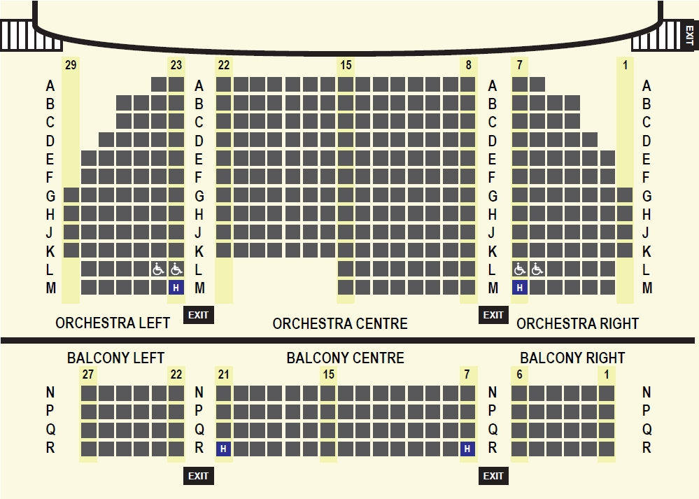 image of 408 seat theatre map with orchestra and balcony seating